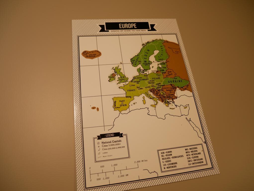 Dziennik podróży ze zdrapkowymi mapami z Aliexpress - mapa Europy po zdrapaniu