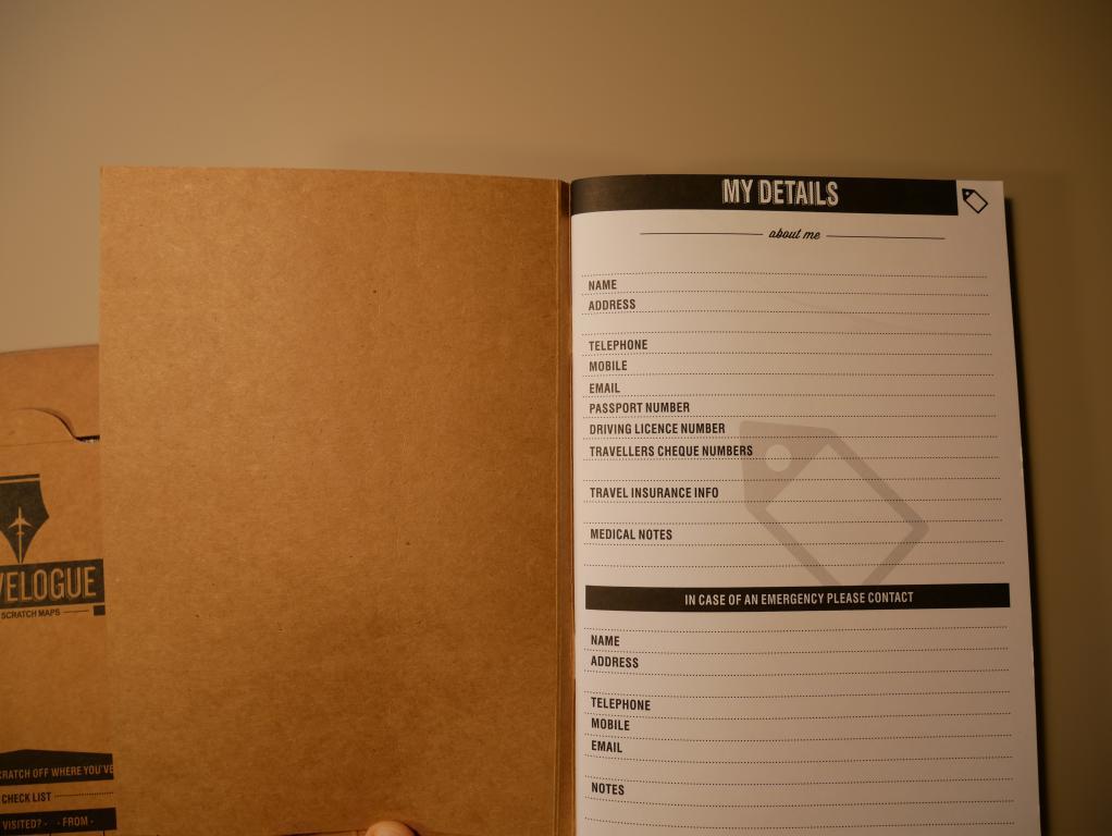 Dziennik podróży ze zdrapkowymi mapami z Aliexpress - notatki