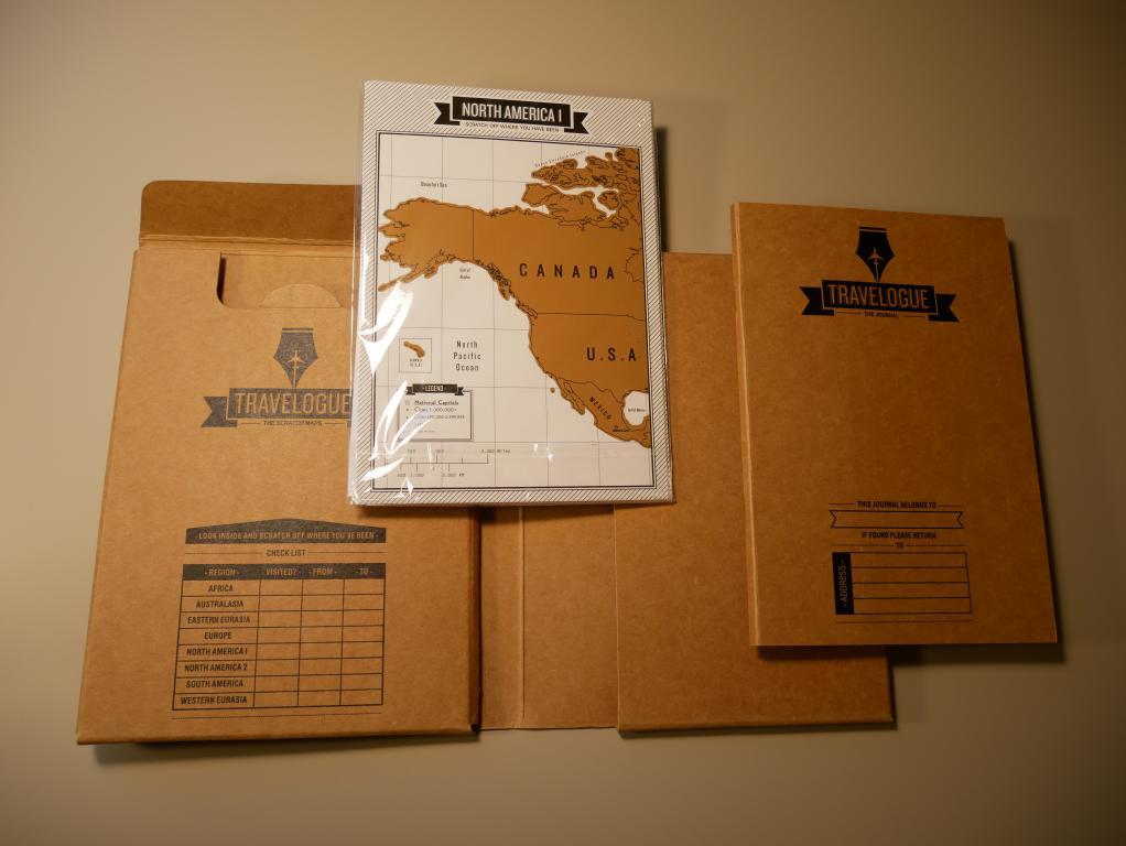 Dziennik podróży ze zdrapkowymi mapami z Aliexpress - zawartość
