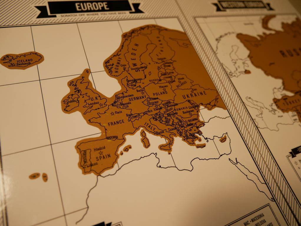 Dziennik podróży ze zdrapkowymi mapami z Aliexpress - zdrapkowa mapa Europy